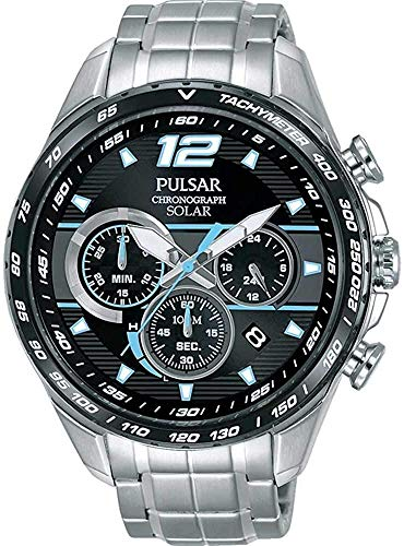 Pulsar Mens Stainless Steel Bracelet Black Dial Blue Highlights PZ5031X1 from Pulsar