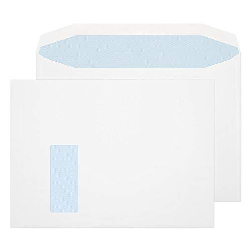 Blake Purely Everyday C4+ 240 x 330 mm 100 gsm Gummed Mailer Low Window Envelopes (9710) White - Pack of 250 from Blake