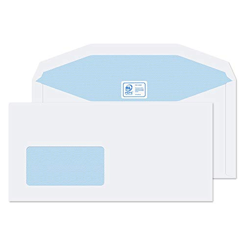 Blake Purely Everyday DL+ 114 x 235 mm 90 gsm Mailer Gummed Low Window Envelopes (3904) White - Pack of 1000 from Blake