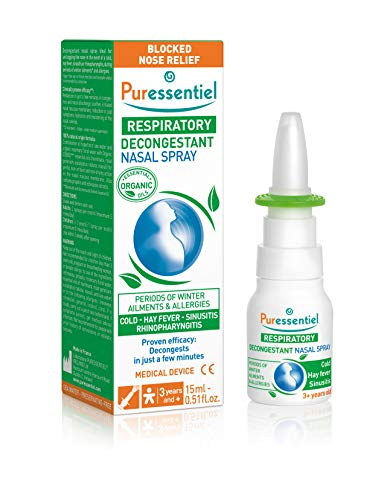 Puressentiel Hypertonic Nasal Spray 15ml - Congestion relief - Instant action - Blocked nose, cold, hay fever, allergies, sinusitis - 100% natural, eucalyptus, sea water, propolis and echinacea from Puressentiel
