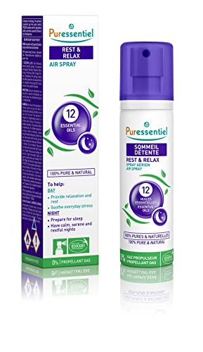 Puressentiel Rest & Relax Air Spray 75ml - To help have peaceful and restful night's sleep - Tested efficacy, 100% natural origin, 12 pure essential oils including Lavender, Sandalwood, Chamomile from Puressentiel