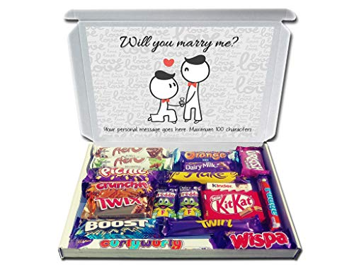 Personalised Will You Marry ME? (Boy/Boy) Proposal Gift Hamper Chocolate Selection Box Engagement Gift LGBT from Purple Gifts