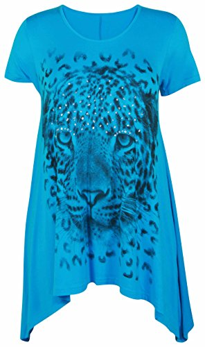 Ladies Plus Size Uneven Hem Short Sleeve Tiger Face Print Womens Stretch Top Turquoise Size 20 – 22 from Purple Hanger