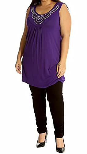 New Ladies Long Beaded Diamante Sleeveless T-Shirt Tops Womens Scoop Neck Stud Bead Vest Top Plus Size Purple Size 20 from Purple Hanger