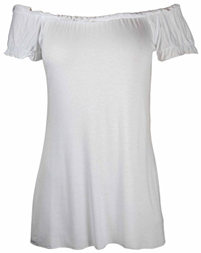 New Ladies Off Shoulder Gathered T-Shirt Tops Womens Gypsy Boho Ruched Elasticated Stretch Top Plus Size White Size 14 from Purple Hanger