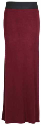 New Ladies Plain Contrast Elastic Waistband Womens Long Straight Maxi Dress Summer Skirt Burgundy Maroon Size 18 from Purple Hanger