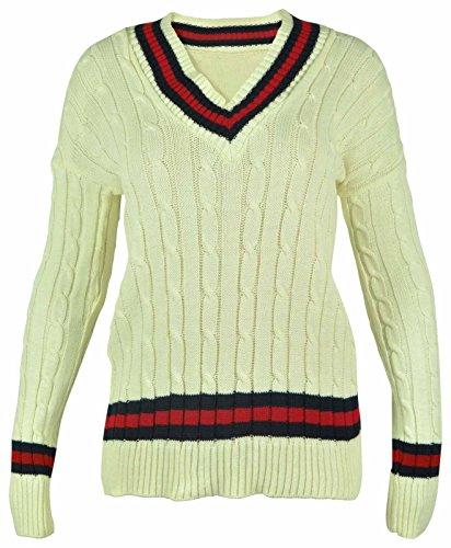 New Ladies V Neck Cable Knitted Cricket Jumper Womens Stretch Long Sleeve Stripe Top Cream Size 8 10 from Purple Hanger