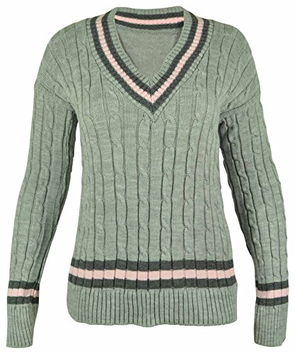 New Ladies V Neck Cable Knitted Cricket Jumper Womens Stretch Long Sleeve Stripe Top Grey Size 8 10 from Purple Hanger