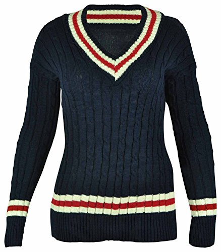 New Ladies V Neck Cable Knitted Cricket Jumper Womens Stretch Long Sleeve Stripe Top Navy Size 16 from Purple Hanger
