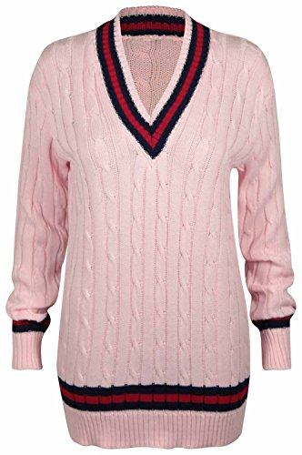 New Ladies V Neck Cable Knitted Cricket Jumper Womens Stretch Long Sleeve Stripe Top Pink Size 8-10 from Purple Hanger