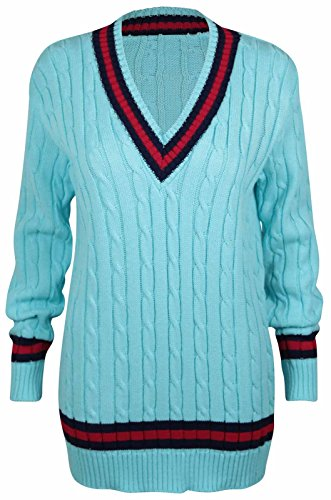 New Ladies V Neck Cable Knitted Cricket Jumper Womens Stretch Long Sleeve Stripe Top Turquoise Size 8-10 from Purple Hanger