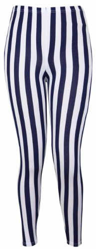New Ladies Vertical Stripe Print Elasticated Waist Womens Patterned Long Stretch Fit Leggings Navy Blue Size 24 26 from Purple Hanger