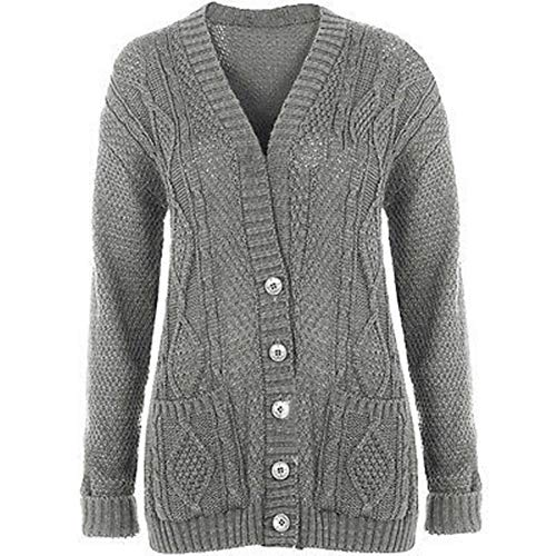 New Womens Everyday Long Sleeve Button Top Ladies Chunky Aran Cable Knit Grandad Cardigan Light Grey Size 12 14 from Purple Hanger