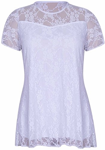 New Womens Floral Lace Short Sleeve Ladies Flower Lined Patterned Stretch T-Shirt Tunic Party Top Plus Size (18 / 20, White) from Purple Hanger