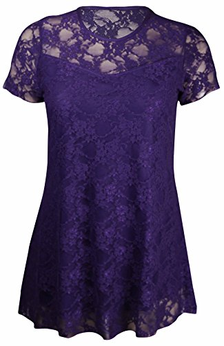 New Womens Floral Lace Short Sleeve Ladies Flower Lined Patterned Stretch T-Shirt Tunic Party Top Plus Size Purple Size 14 from Purple Hanger