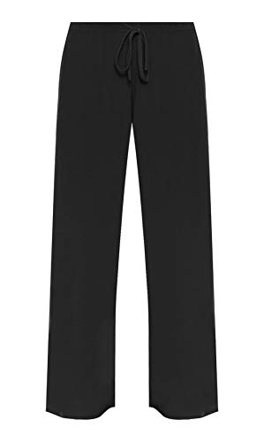 New Womens Plain Wide Leg Casual Trousers Ladies Stretch Fit Tie Trim Palazzo Pants Plus Size Black Size 14 from Purple Hanger
