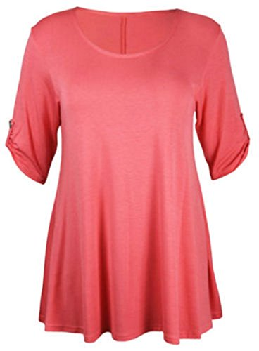 New Womens Plus Size Stretch Fit Round Neck Plain Button Tops Ladies Three Quarter Turn Up Sleeve T-Shirt Top Coral Size 14 from Purple Hanger