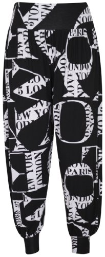 New Womens Printed Hareem Loose Baggy Trousers Ladies Print Pattern Long Harem Pants Plus Size Letter Print Size 20 - 22 from Purple Hanger