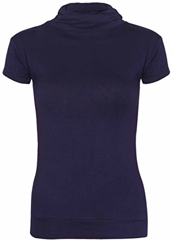 New Womens Turtle Polo Neck T-Shirt Tops Ladies Short Sleeve Stretch Fitted Gathered Ruched Top Navy Blue Size 8 - 10 from Purple Hanger