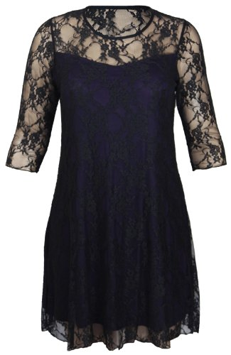 Ladies New Plus Size Floral Pattern Lace Dresses Womens Lined 3/4 Sleeve Stretch Fit Evening Dress Black & Purple Size 20 from Purple Hanger
