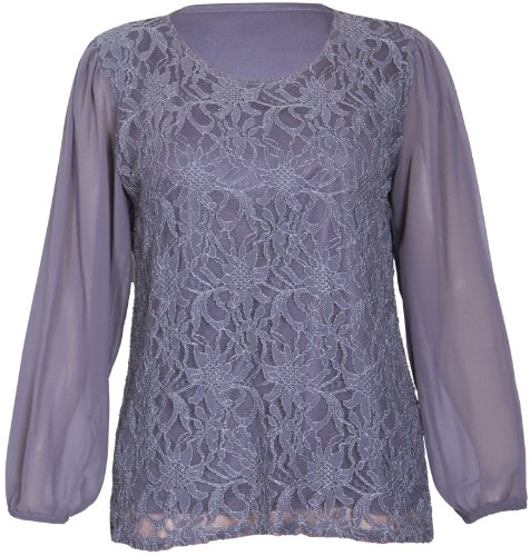 Womens Chiffon Sheer Lace Mesh Full Sleeve Ladies Round Neck Stretch Lined Floral Blouse Top Plus Size Dark Grey Size 22 - 24 from Purple Hanger