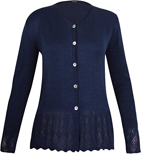 Purple Hanger Womens Long Sleeve Ladies Front Button Knitted Sweater V Shaped Neck Scallop Crochet Cardigan Top Plus Size Navy Blue Size 16-18 (M/L) from Purple Hanger