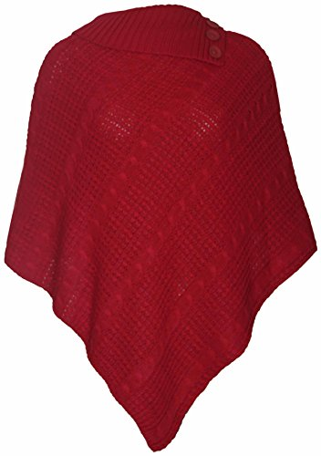 Womens New Poncho Button Ladies Long Knitted Folded Roll Neck Button Cape Shawl Wrap Shrug Jumper Top Plus Size Red Size 20 - 22 from Purple Hanger