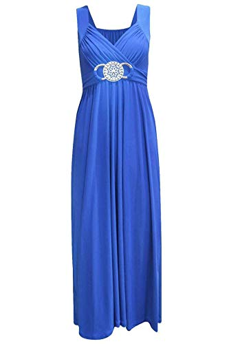 Womens New Sleeveless Ladies Stretch Cross Over Wrap Buckle Belt Back Tie Fastening Long Maxi Dress Plus Size Royal Blue Size 16 - 18 from Purple Hanger