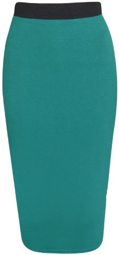 Womens Pencil Stretch Tube Wiggle Ladies Contrast Elasticated Waistband Fit Bodycon Plain Office Midi Skirt Jade Green Size 16 - 18 (L/XL) from Purple Hanger