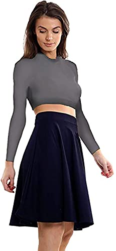 Womens Plain Soft Stretch Ladies Elasticated Waistband Knee Length Full Flared Swing Skater Midi Skirt Plus Size Navy Blue Size 14 from Purple Hanger
