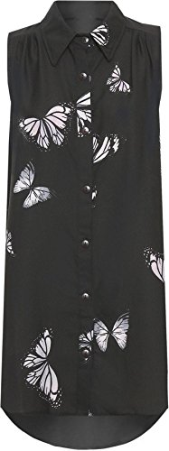 Womens Plus Size Chiffon Butterfly Design Ladies Sleeveless Uneven Hem Shirt Top Black 16 from Purple Hanger