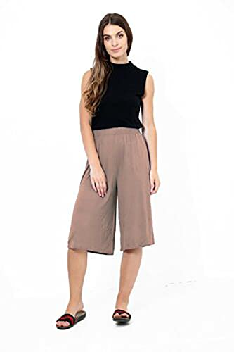 Womens Plus Size Floral Spot Paisley Print Ladies Stretch Elasticated Waist Wide Leg Culottes Shorts (12/14, Mocha) from Purple Hanger