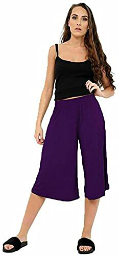 Womens Plus Size Floral Spot Paisley Print Ladies Stretch Elasticated Waist Wide Leg Culottes Shorts (16/18, Purple) from Purple Hanger