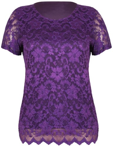 Womens Short Sleeve Ladies Stretch Round Scoop Neckline Lined Floral Lace Blouse T-Shirt Top Plus Size Purple 26-28 from Purple Hanger