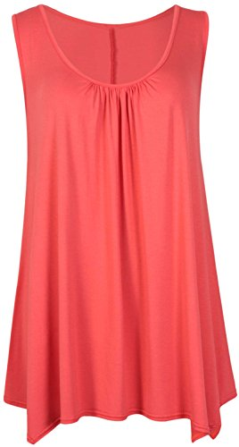Womens Sleeveless Ladies Stretch Gathered Round Neck Uneven Hem Long Vest T-Shirt Top Coral 24-26 from Purple Hanger