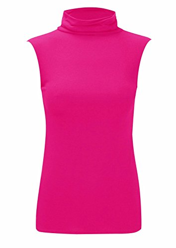 Womens Sleeveless Ladies Stretch Turtle Polo Roll Neckline Vest Plain T-Shirt Jumper Top Cerise 8-10 from Purple Hanger