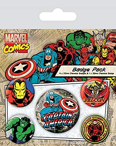 Pyramid International Marvel Retro Captain America Badge, Multi-colour, 10 x 12.5 x 1.3 cm from Pyramid International