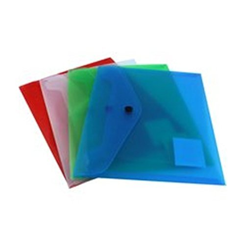 4 x A5 Popper Stud Wallet Envelopes Plastic Document Folders Assorted KF03609 from Q-CONNECT