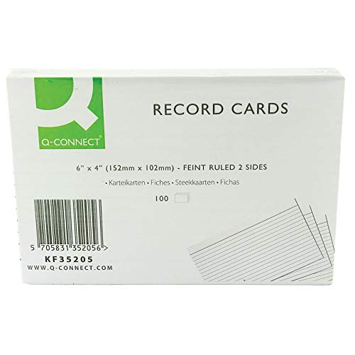 Q Connect (6 x 4 Inch) Feint Ruled Lined Record Cards Double Sided Revision Cards (3 x 100 Cards) from Q-CONNECT