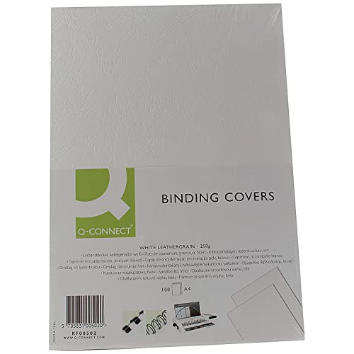 Q-Connect KF00502 A4 Leathergrain Binding Comb Cover - White (Pack of 100) from Q-Connect