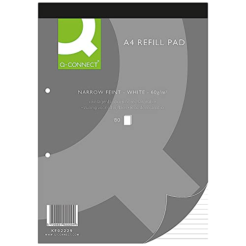 Q-Connect A4 Narrow Feint Ruled 2 Hole Refill Pads KF02229 - Pack of 10 from Q-CONNECT