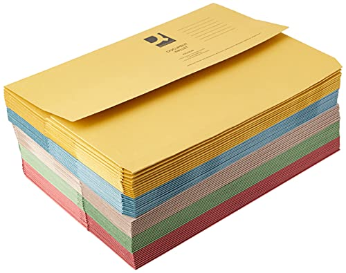 Q-Connect Document Wallet Foolscap, 285 gsm KF01490 - Assorted Colours, Pack of 50 from Q-Connect