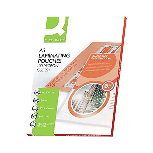 Q-Connect KF02771 Laminating Pouch A4 100-Micron (Pack of 50sheets) from Q-CONNECT