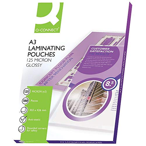 Q-Connect KF04124 Laminating Pouch A3 125-Micron (Pack of 100) from Q-Connect