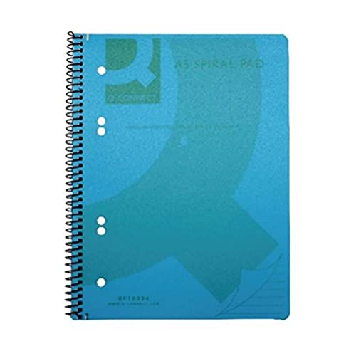 Q-Connect A5 Polypropylene Notepad, Blue, Pack of 5 from Q-CONNECT
