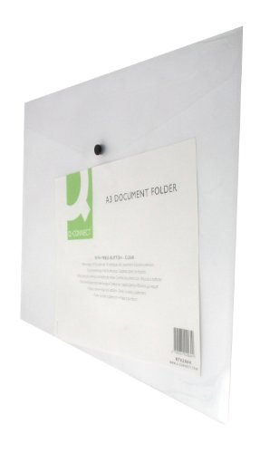 Q-Connect KF02464 Plastix A3 Document Folder - Clear, Pack of 12 from Q-CONNECT