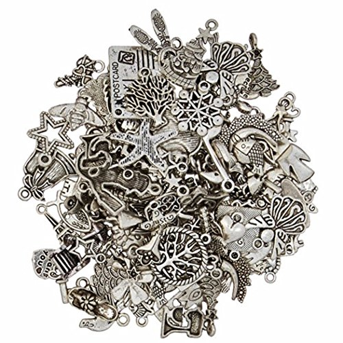 50g Mixed Charms & Pendants Antique Silver Pendant Charms Jewellery Making Findings{70-80pcs} from QIANDI