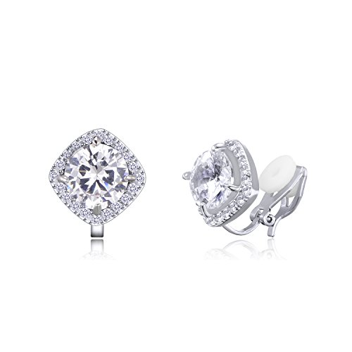 QUKE Cubic Zirconia Crystal Clip On Stud Earrings CZ Not Pierced Jewelry For Woman from QUKE