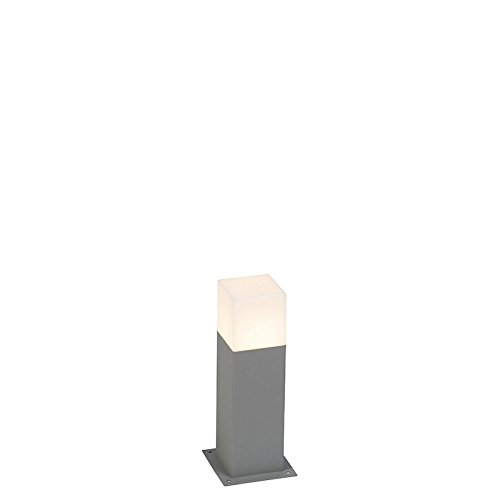 QAZQA Modern Modern Standing Outdoor Pole/Bollard/Post lamp 30 cm Gray IP44 - Denmark Aluminium/Polyester Cube/Square/Rectangle/Oblong E27 Max. 1 x Watt/Garden Lighting/Lights/Lamps from Qazqa