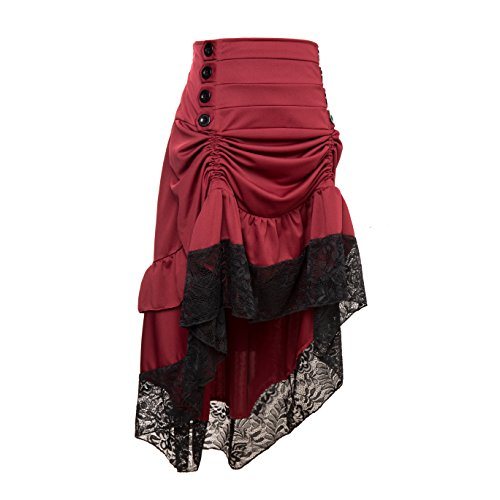 Qbuds Adjustable Ruffle High Low Gothic Skirt Plus Size Long Vintage Fishtail Steampunk Corset Skirt Long Dress for Women, 4XL, Red from Qbuds